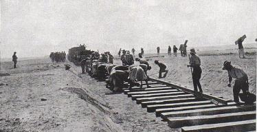 Railway construction across the Sinai during World War I.